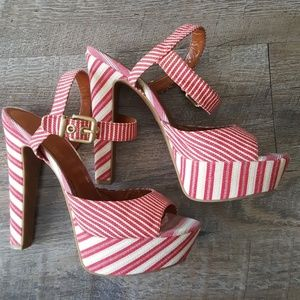 Jessica Simpson candy striped platform heals